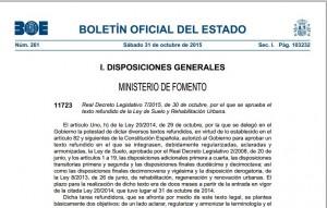 Real Decreto Legislativo 7/2015, de 30 de octubre, por el que se aprueba el texto refundido de la Ley de Suelo y Rehabilitación Urbana