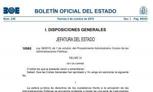 Hoy 2 de octubre, entrada en vigor Ley 39/2015 y Ley 40/2015