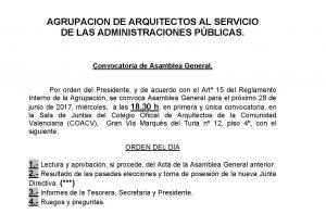 CONVOCATORIA ASAMBLEA GENERAL 28_06_2017 SALA DE JUNTAS COACV 18,30h Gran Vía Marqués del Turia nº 12, piso 4º