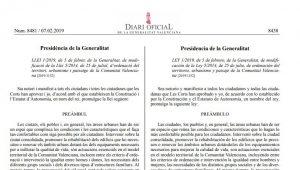 Publicada LEY 1/2019, de 5 de febrero, de la Generalitat, de modificación de la LOTUP (DOCV Num 8481/07.02.2019) Entrada en vigor 08.02.2019